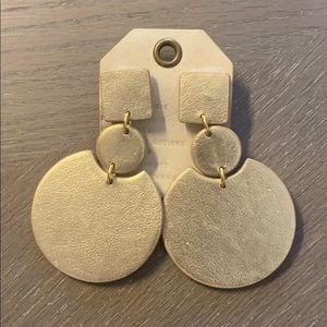 'Leather' Gold statement earrings